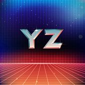 80s Retro Futuristic Font from Y to Z poster