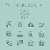 Real estate thin line icon set for web and mobile. Set includes- agents, training, seminar, building, growth graph, house with magnifying glass icons. Modern minimalistic flat design. Vector dark grey poster