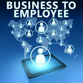 Business to Employee illustration with tablet computer on blue background poster