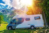 Camper Camping. Class B European Style Motorhome Caravan. Camper Van Trip. Summer RV Adventure. poster