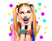 Beauty Funny Girl Portrait with Colorful Makeup, Hair and Accessories. Colourful Studio Shot of Surprised Woman. Vivid Colors, blue lipstick poster