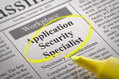 Application Security Specialist Vacancy in Newspaper. Job Search Concept. poster