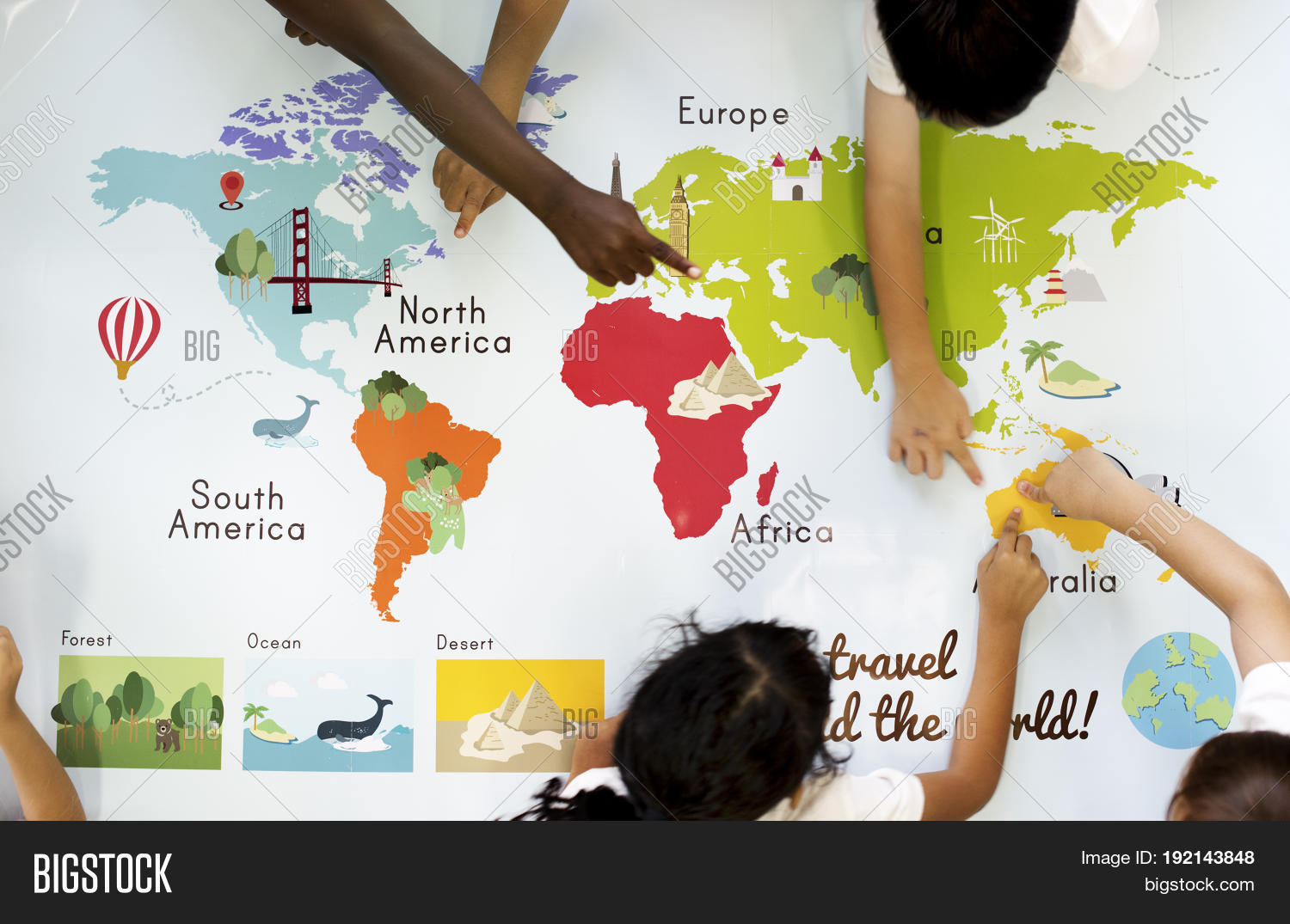 Kids learning world image photo free trial bigstock kids learning world map with continents countries ocean geography gumiabroncs Gallery