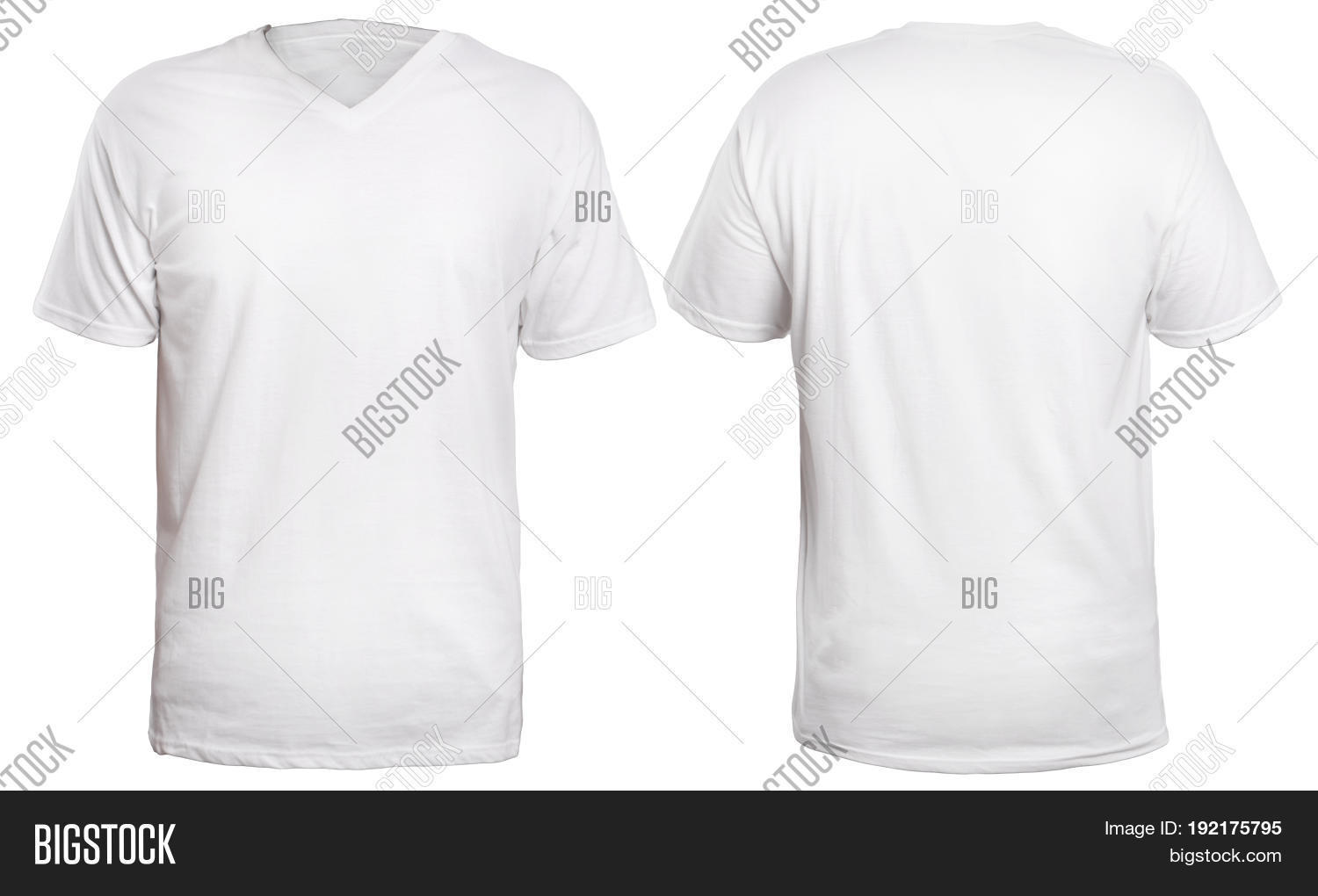 f058c1344ab4 Blank v-neck shirt mock up template front and back view isolated on white  plain