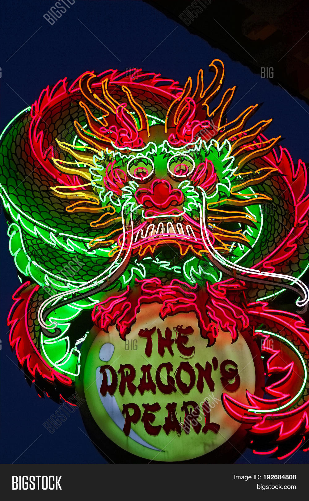 OSAKA, JAPAN - Apr 17, 2017: Restaurant of The Dragon's Pearl sign in