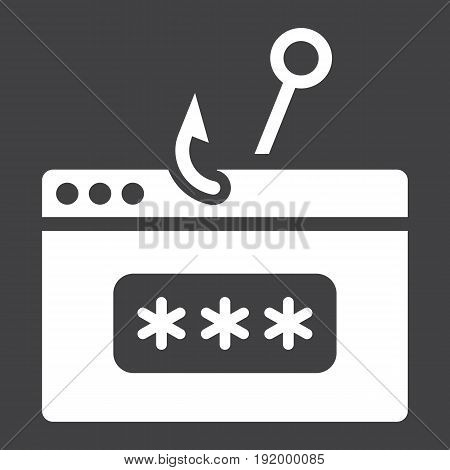 Password phishing solid icon, security and hack, vector graphics, a glyph pattern on a black background, eps 10.