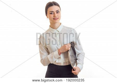 girl waitress with a tray in the hands smiling isolated on white background