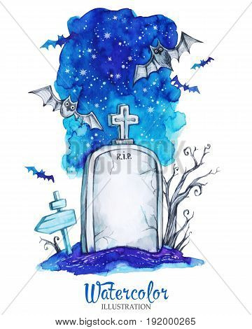 Watercolor vintage illustration. Hand painted old gravestone at halloween's night. Spooky landscape. Horror. Ready for print, poster, fashion design, greeting card.