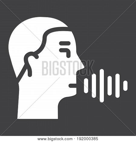 Speech recognition solid icon, voice control and security, vector graphics, a glyph pattern on a black background, eps 10.