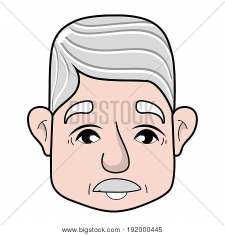 old man face with moustache and hairstyle vector illustration