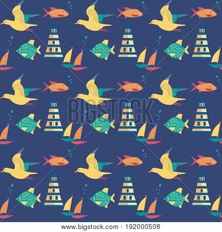 Maritime seamless pattern. Seagull nautical symbol. Freehand drawn cartoon style. Vector Seashore summer marine element. Template with sailing signs background for textile packaging print projects