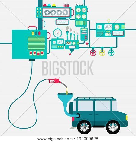 Machinery of factory refining gasoline and refueling a off road car. Car being fueled by a gas pump.