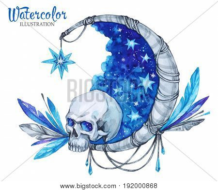 Watercolor vintage illustration. Hand painted mystic emblem with skull, moon, stars and feathers. Halloween's night. Horror. Ready for print, poster, fashion design, greeting card.