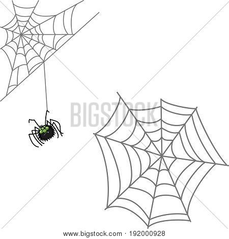 Spider and web. Halloween icon isolated on white background. Cartoon style vector illustration