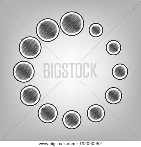 Circular loading sign. Vector. Pencil sketch imitation. Dark gray scribble icon with dark gray outer contour at gray background.