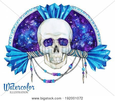 Watercolor vintage illustration. Hand painted headstone emblem with skull. Halloween's night. Horror. Ready for print, poster, fashion design, greeting card.