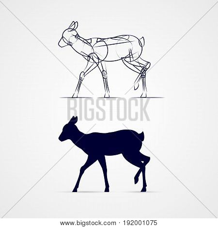 Standing Deer Silhouette with Sketch Template on Gray Background