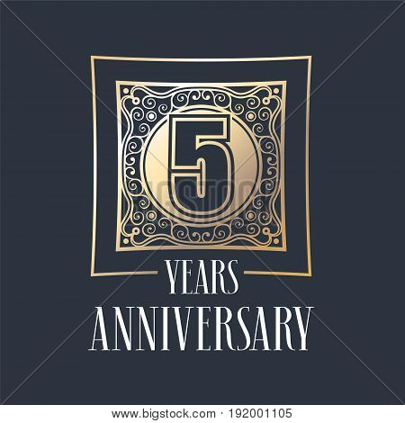 5 years anniversary vector icon logo. Graphic design element with golden frame and number for 5th anniversary decoration