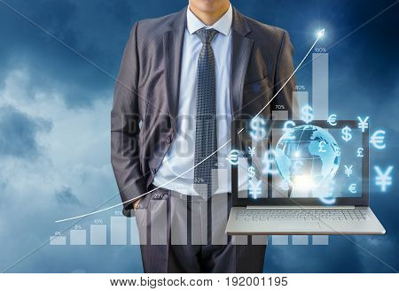 Businessman Working In The Global Market.