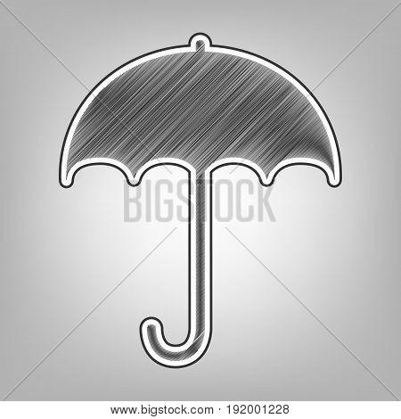 Umbrella sign icon. Rain protection symbol. Flat design style. Vector. Pencil sketch imitation. Dark gray scribble icon with dark gray outer contour at gray background.