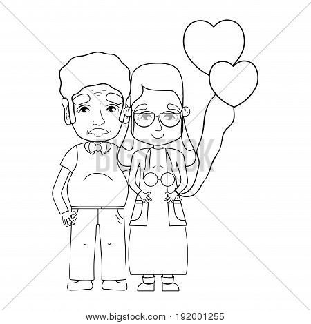 line old coupe people with glasses and hairstyle vector illustration