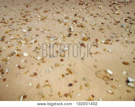 close up sand and pebbles on beach