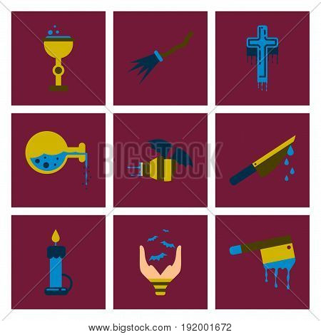 assembly of flat icons knife blood wax candle hand bat