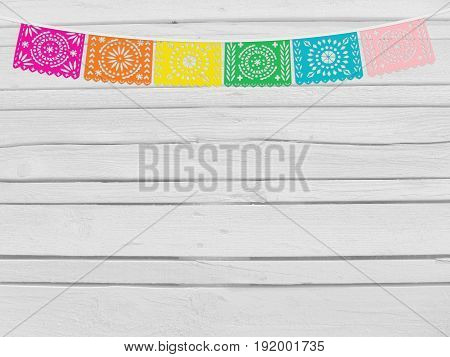 Brazilian june party, festa junina mockup. Birthday decorative scene. String of handmade cut paper flags, party decoration. White wooden background, empty space. Top view.