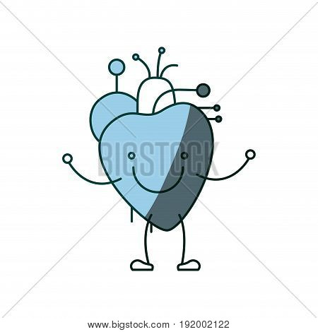 blue color shading silhouette caricature with happy face circulatory system with heart vector illustration