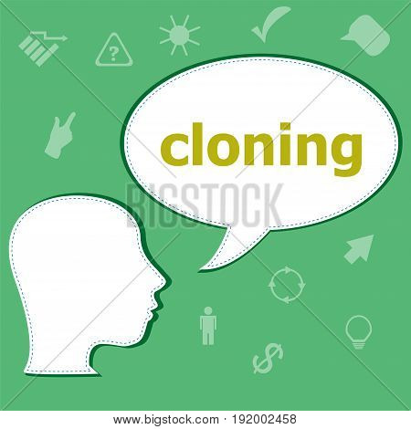 Text Cloning On Digital Background. Information Concept . Head With Speech Bubble