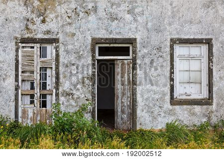 The Abandoned Ruin Of A House On The Coast Of Sao Miguel Island