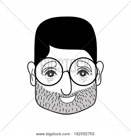 contour old man face with glasses and hairstyle vector illustration