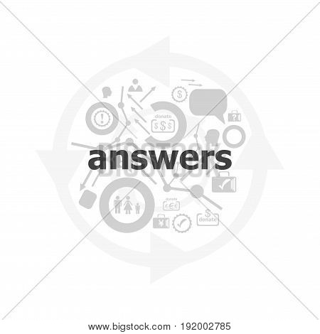Text Answers On Digital Background. Education Concept