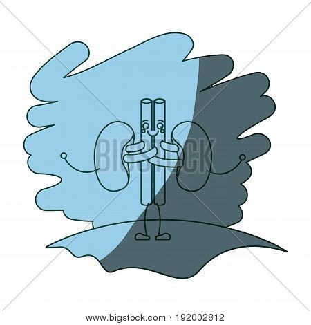 blue color shading scene in grass with silhouette caricature renal system of human body vector illustration