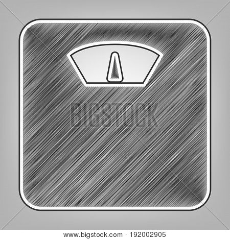 Bathroom scale sign. Vector. Pencil sketch imitation. Dark gray scribble icon with dark gray outer contour at gray background.