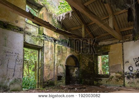 The Abandoned Ruin Of The House At Lake Lagoa Das Furnas On The Sao Miguel Island