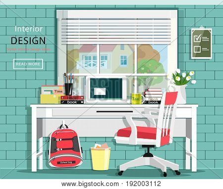 Graphic room set with desk, chair, window, bag, books, note book. Stylish home office. Cute room. Vector illustration.