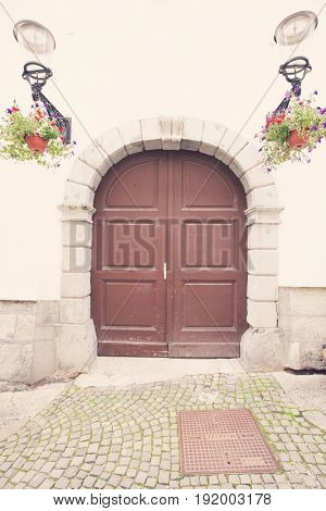 Closed wooden door of house; Zagreb; Croatia