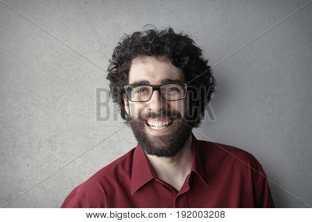 Handsome bearded man smiling