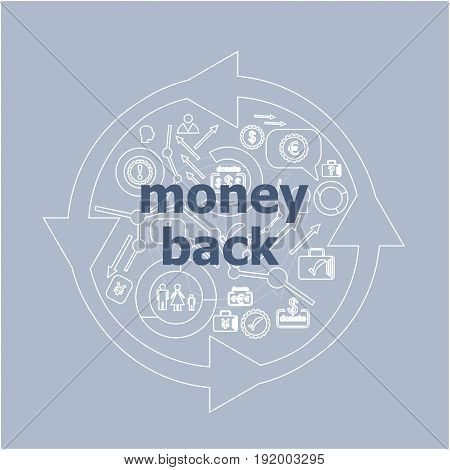 Text Money Back. Business Concept . Icon And Button Set