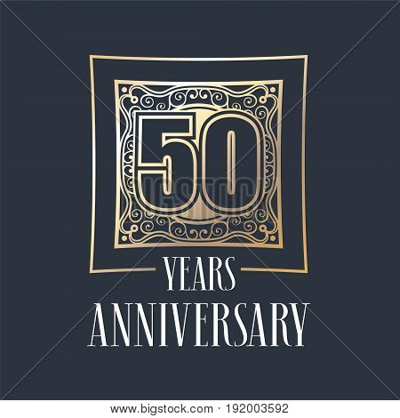 50 years anniversary vector icon logo. Graphic design element with golden frame and number for 50th anniversary decoration