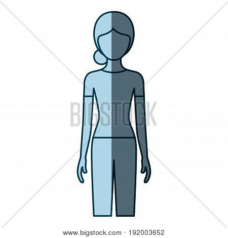 blue color shading silhouette faceless front view woman with pants and collected hair vector illustration