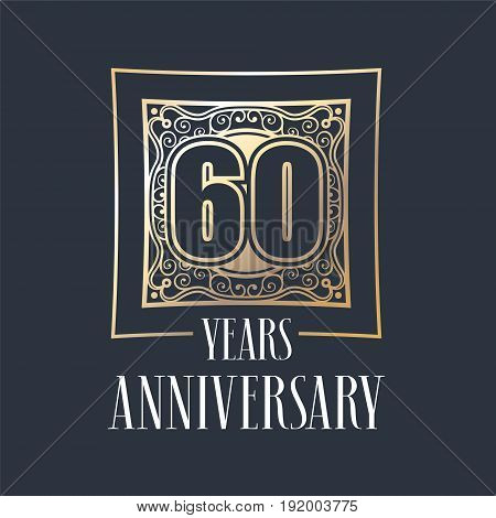 60 years anniversary vector icon logo. Graphic design element with golden frame and number for 60th anniversary decoration