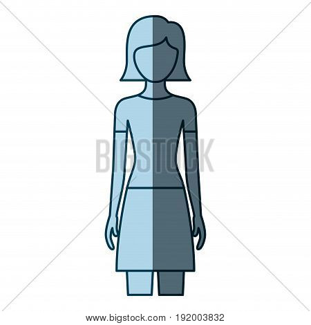 blue color shading silhouette faceless front view woman with skirt and short straight hairstyle vector illustration