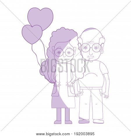 silhouette old coupe people with glasses and hairstyle vector illustration