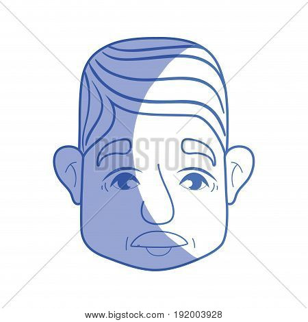 silhouette old man face with moustache and hairstyle vector illustration
