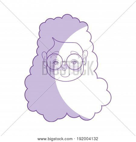 silhouette old woman face with hairstyle and glasses vector illustration