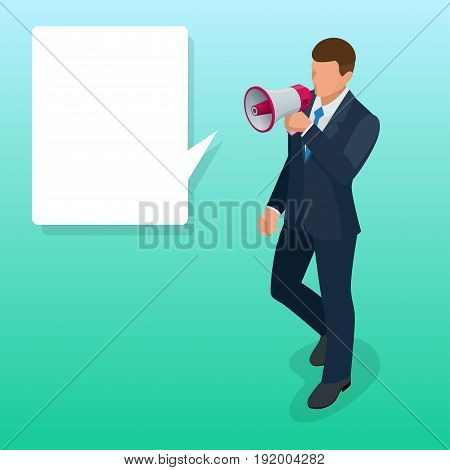 Isometric Man with loudspeaker flat vector illustration. Speaker or loudspeaker