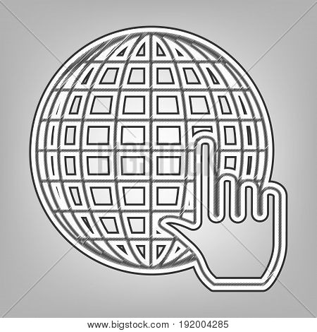 Earth Globe with cursor. Vector. Pencil sketch imitation. Dark gray scribble icon with dark gray outer contour at gray background.