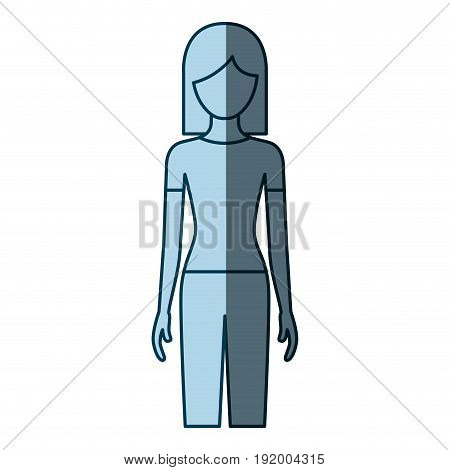 blue color shading silhouette faceless front view woman with pants and short hair vector illustration